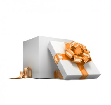 Curly bow on the gift. 3d visualization stock vector