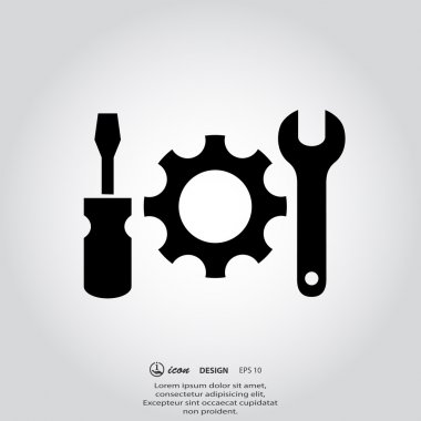 Gear, wrench and screwdriver icons