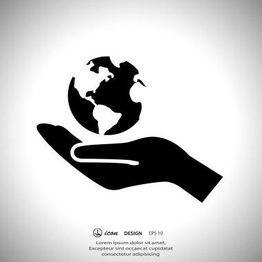 Globe on hand icon