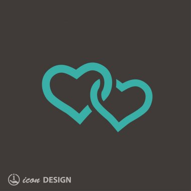 Pictograph of two hearts icon clip art vector