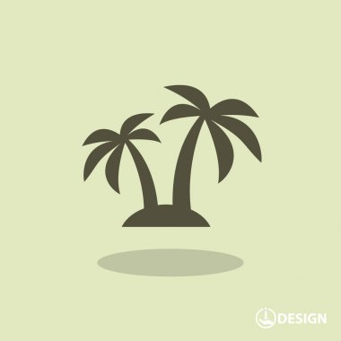 Pictograph of island with palm trees