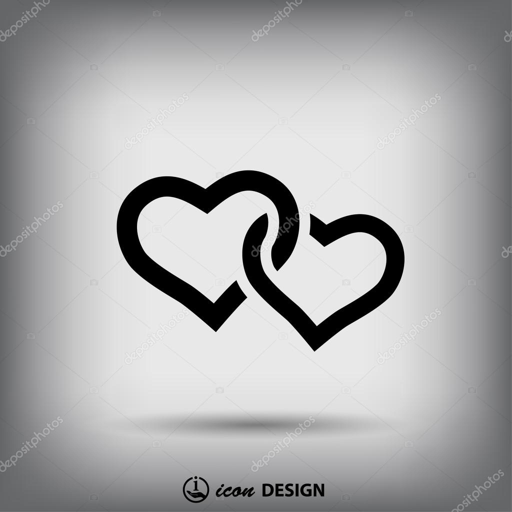 Pictograph of two hearts icon vector illustration stock vector