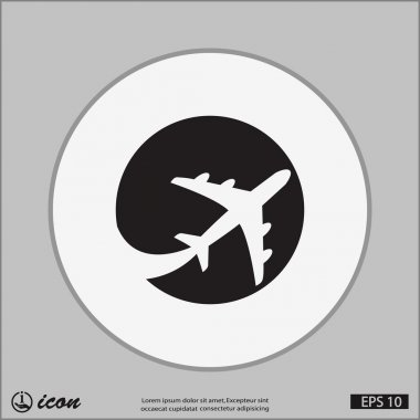 Pictograph of airplane icon illustration stock vector