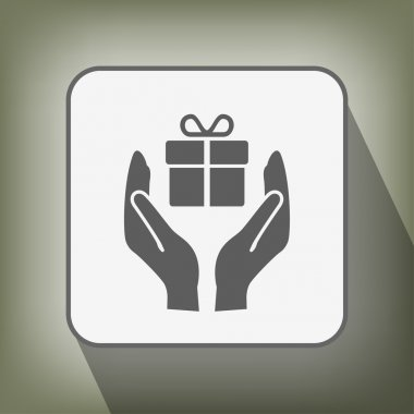 Pictograph of gift in hands icon