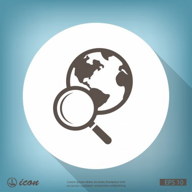 Magnifying glass and globe icon