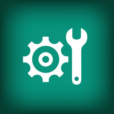 Gear with wrench flat design icon