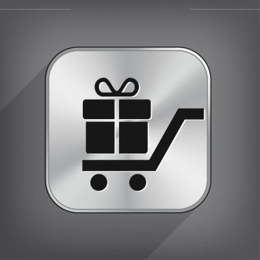 Shopping cart with gift icon