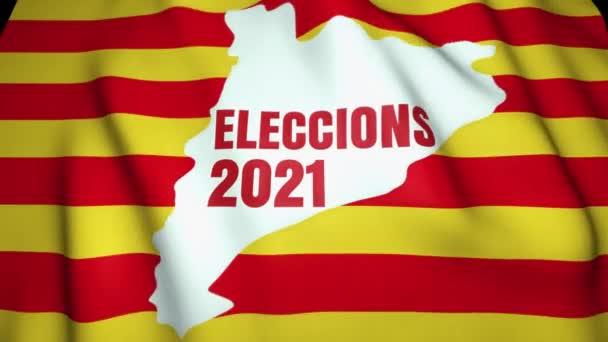 Helyi választás Spanyolországban koncepció. Választás 2021 szöveg katalán nyelven. Katalónia lengő zászló a háttérben.