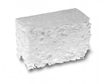 Piece of white Styrofoam isolated on white background stock vector
