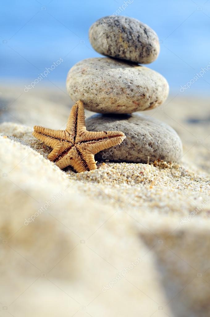 Starfish and zen stones