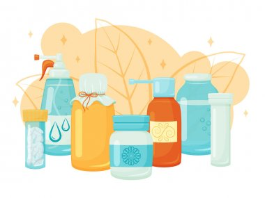 Medical supplies, medicines, tablets and liquids. Vector illustration. Cartoon style.Healthcare, pharmacy. icon