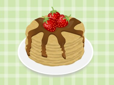 Pancakes with strawberry and chocolate syrup