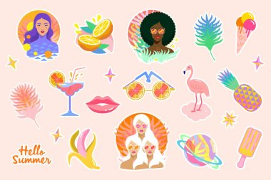 Summer stickers set with flamingo, sunglasses, tropical palm leafs, banana, pineapple, fashion model girls, ice cream, cocktail, lips.Trendy elements for summertime design. Vector illustration icon
