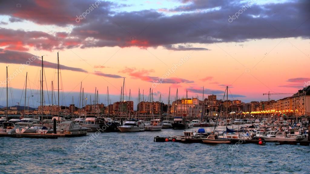 Pink sunrise over the marina