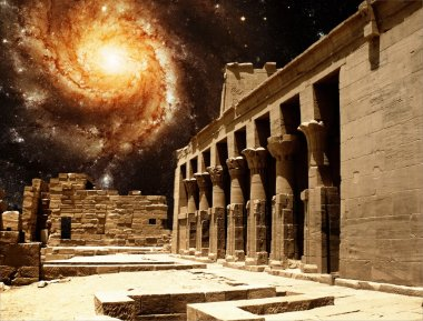 Colonnade at the Temple of Isis at Philae and the Pinwheel Galax