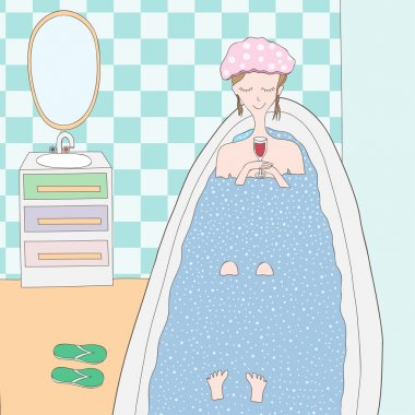 illustration with cute girl taking a bath