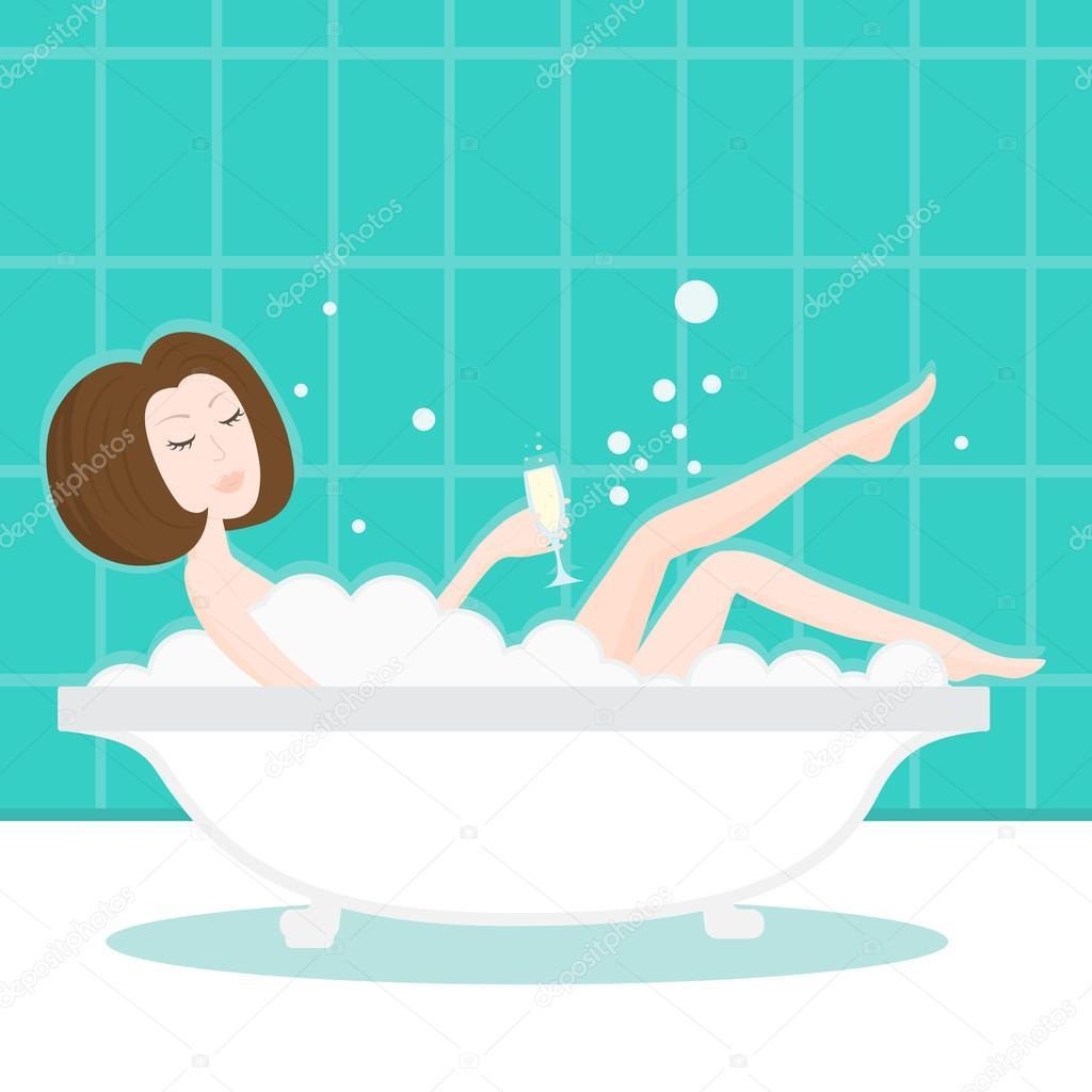 Девушка ванна и шампанское