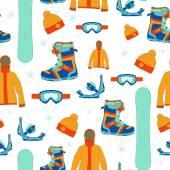 Nahtlose Muster mit Snowboard-Ausrüstung