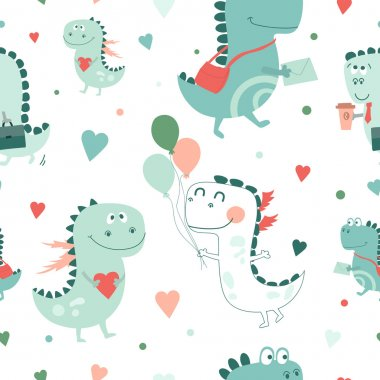 Seamless pattern with cartoon dragons