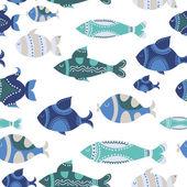 vzorek s roztomilý okrasných ryb a květiny