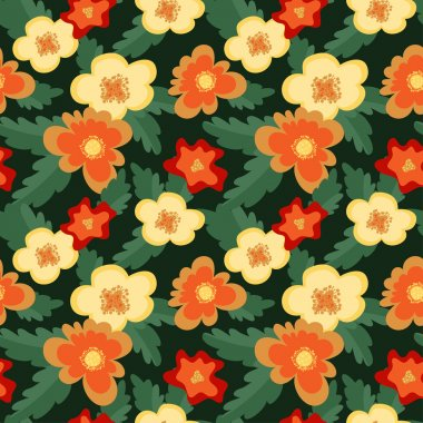 seamless pattern with abstract big flowers