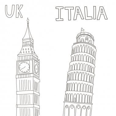 graphic Big Ben and tower of Pisa