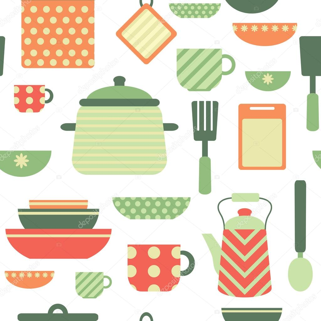 Articles de cuisine aux couleurs rouges, verts et orange — Image ...