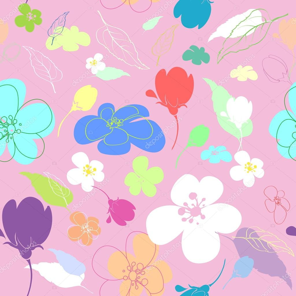 Seamless multi-colored flowers in the thumbnail style