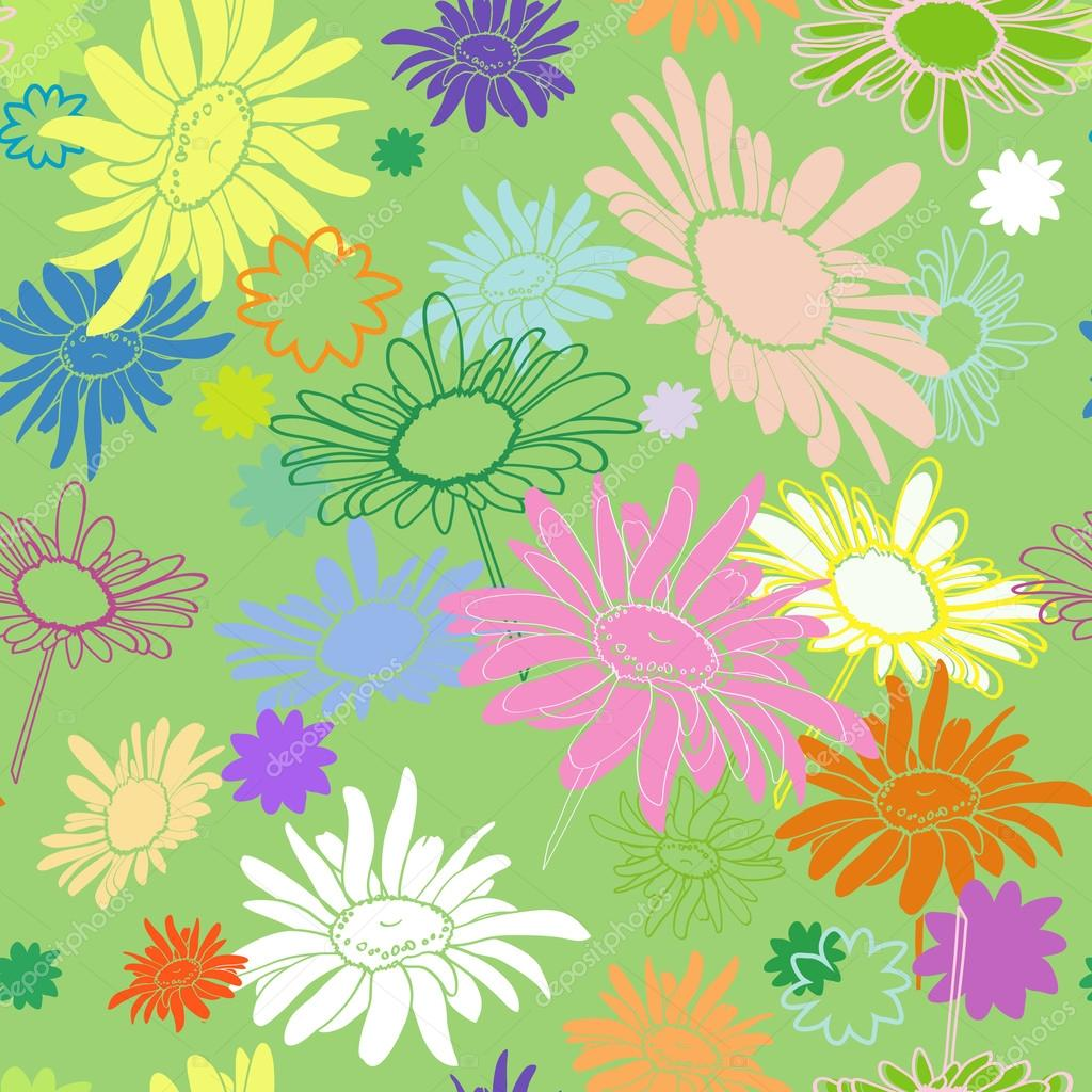Seamless multi-colored flowers on a green background