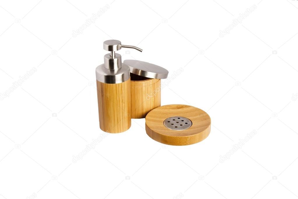 Accessori bagno bamboo u foto stock rades