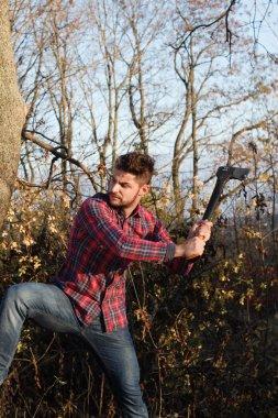 stylish lumberjack with axe