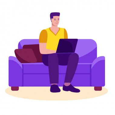Man freelance with a laptop on the couch studying or working at home. Vector concept of freelance, online education.