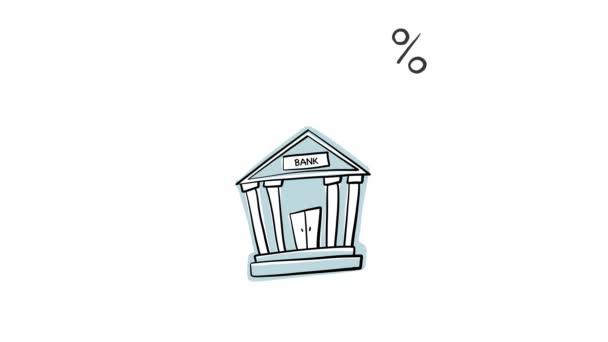 hideg érme esik a bankba, és százalék jelenik meg, animált üzleti előfizetői