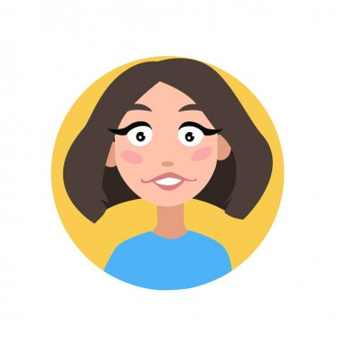 Female user profile. The avatar is a woman. A character for a screen saver with happy emotions. For website and mobile app design. Vector illustration on a white isolated background. icon