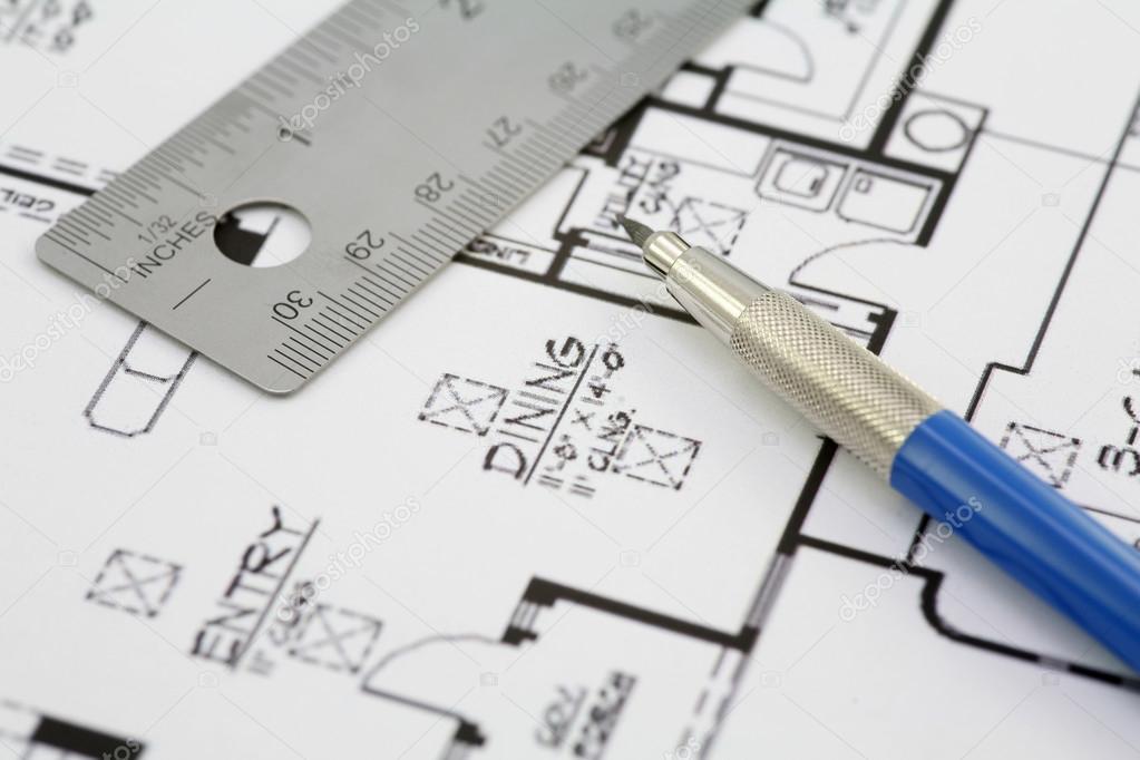 House plan blueprint architect design stock photo senicphoto house plan blueprint architect design stock photo malvernweather Images