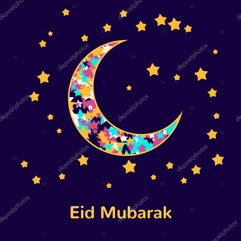 muslim community festival eid mubarak celebration greeting card decorated with golden stars and. Black Bedroom Furniture Sets. Home Design Ideas
