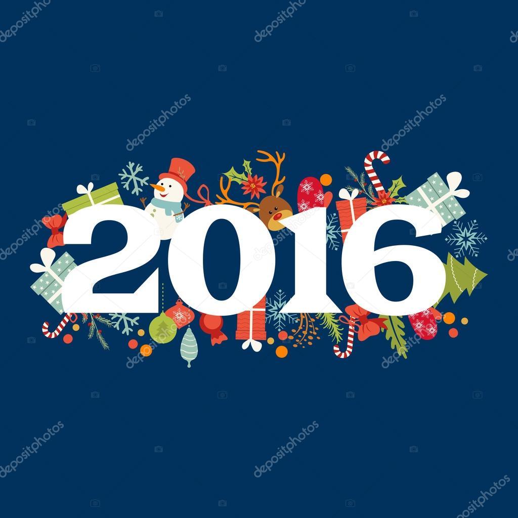 Frohes Neues Jahr-Karte mit Kalli Wünsche und Winter Urlaub Elemente ...