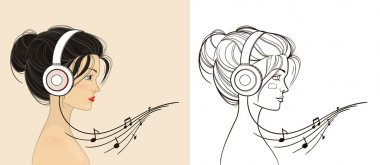 Young beautiful girl listening to music on headphones. Hand draw