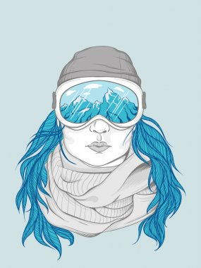 Snowboarder girl wear glasses and scarf illustration stock vector