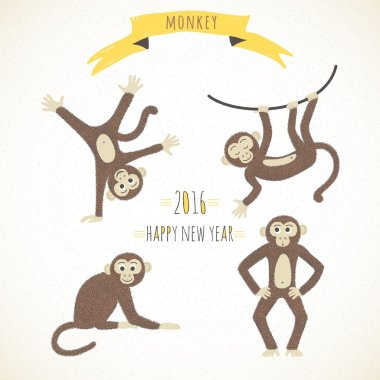 Set of cute funny monkeys in a cartoon style. Symbol of the 2016