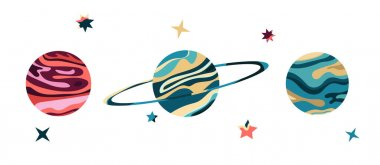 Vector Illustration Of A Space. Cosmic flat vector set with abstract planets and stars.
