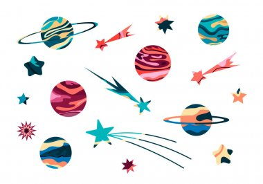 Vector Illustration Of A Space. Big Cosmic flat vector set with abstract planets and stars.