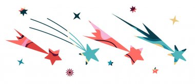 Vector Illustration Of A Space. Big Cosmic flat vector set with abstract stars.