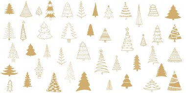 Set Christmas tree. Different Christmas trees for Christmas design, printing on fabric and textiles. icon