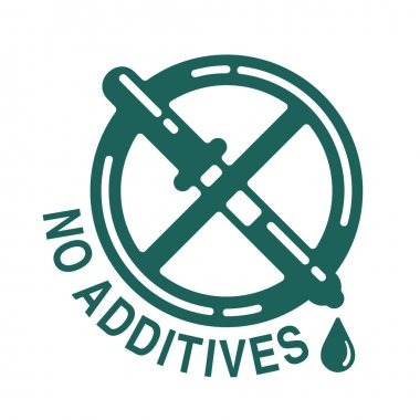 No additives sign - crossed out eyedropper with harmful E-numbered preservatives liquid inside - isolated vector icon for healthy food and cosmetics products packaging icon