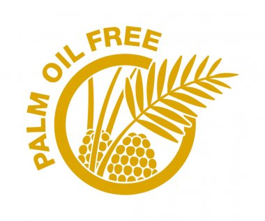 Palm oil free flat pictogram - crossed out palm branch inside oil drop - marking for unavailability of harmful food ingredient - isolated vector emblem icon