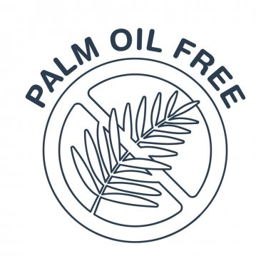 Palm oil free thin line pictogram - crossed out palm branch inside oil drop - marking for unavailability of harmful food ingredient - isolated vector emblem icon