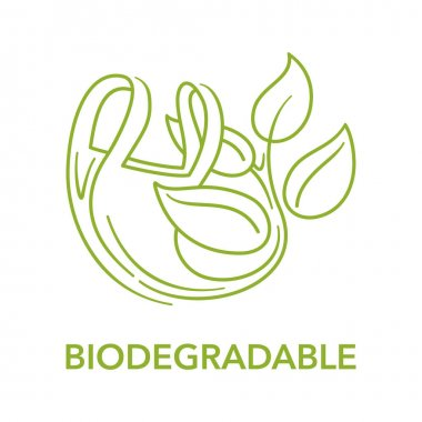 Biodegradable logo - plastic polymer packet turns to plant branch in thin line - eco friendly compostable material production - environment protection emblem icon