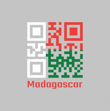 QR code set the color of Madagascar flag. Two horizontal bands of red and green with a white vertical band on the hoist side with text Madagascar. icon