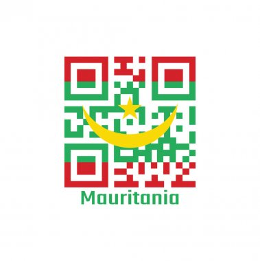 QR code set the color of Mauritania flag. Two red stripes flanking a green field with a golden crescent and star with text Mauritania. icon